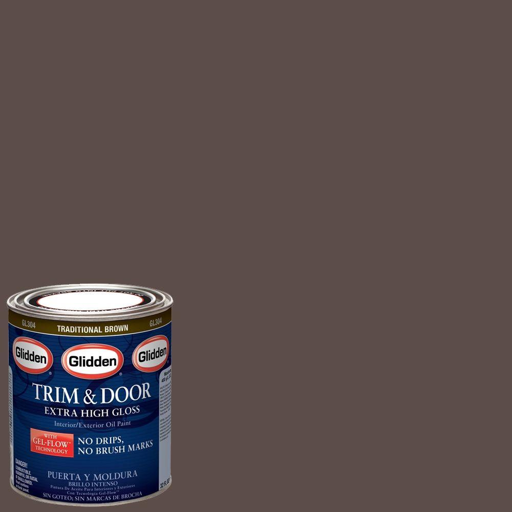 Glidden Trim And Door 1 Qt. Traditional Brown Gloss Interior/Exterior Oil  Paint