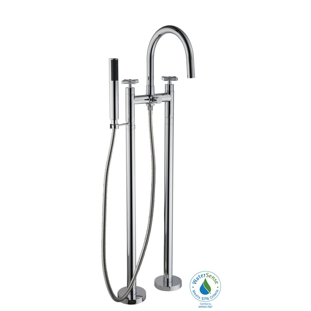 Glacier Bay Danay 2-Pipe 2-Handle Freestanding Floor Mount Roman Tub Faucet with Handheld Handshower in Chrome