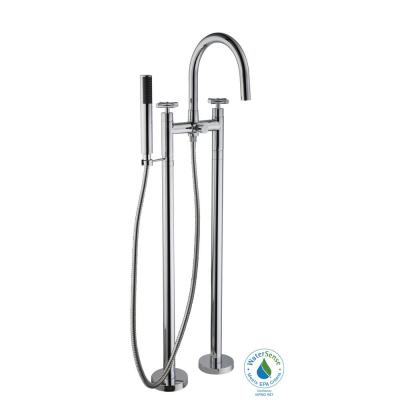 Danay 2-Pipe 2-Handle Freestanding Floor Mount Roman Tub Faucet with Handheld Handshower in Chrome