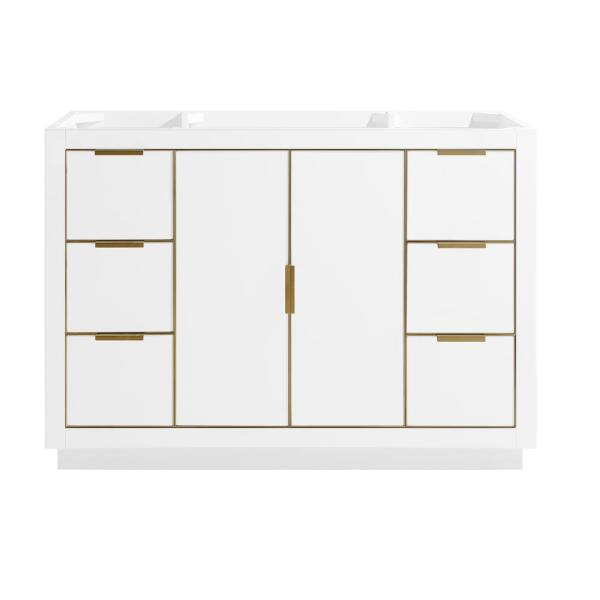 Austen 48 in. Bath Vanity Cabinet Only in White with Gold Trim