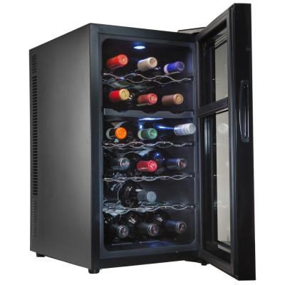 18 Bottle Dual Zone Thermoelectric Freestanding Wine Cooler Fridge Cellar Refrigerator - Black
