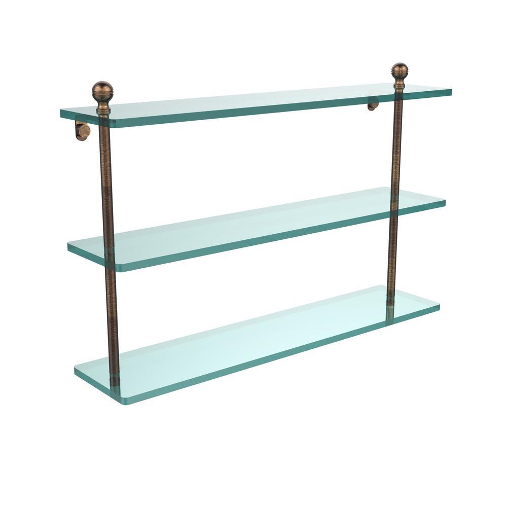 Mambo 22 in. L  x 15 in. H  x 5 in. W 3-Tier Clear Glass Bathroom Shelf in Venetian Bronze
