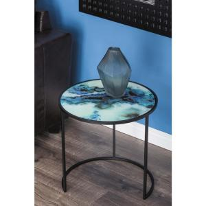 20 inch x 19 inch Nesting Iron and Glass Accent Table (Set of 2) by