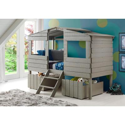 Rustic Grey Twin Tree House Loft Bed with Drawers