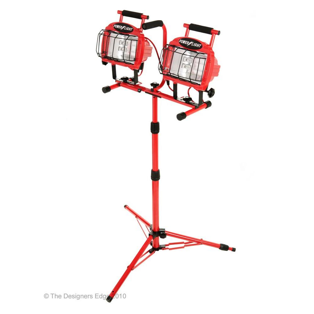 Designers Edge Portable Fluorescent Work Light: Working Lights Head Twin Tripod Wide Glass Guard