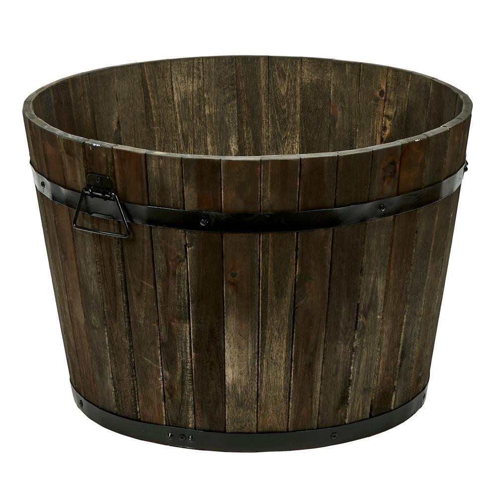 15 in. Wood Barrel in Brown Oil