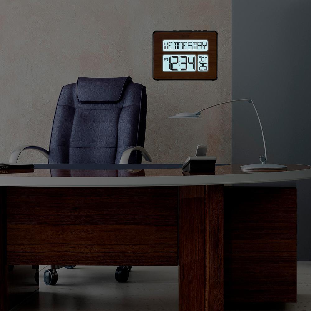 Backlight Atomic Full Calendar Digital Clock with Extra Large Digits in Walnut Finish