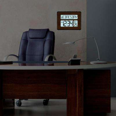 Backlight Atomic Full Calendar Digital Clock with Extra Large Digits in Walnut Finish