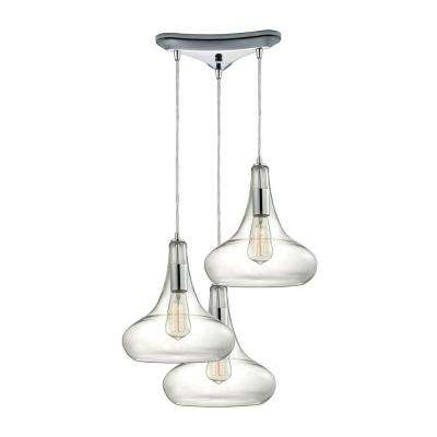 Orbital 3-Light Polished Chrome Pendant