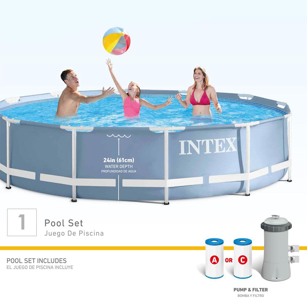intex 12 ft round 30 in deep prism frame swimming pool with 530 gph filter pump 28711eh the. Black Bedroom Furniture Sets. Home Design Ideas