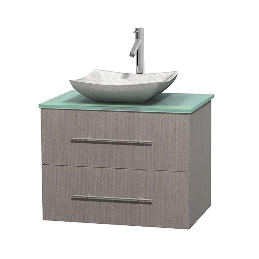 Wyndham Collection Centra 30 in. Vanity in Gray Oak with Glass Vanity Top in Green and Carrara Sink