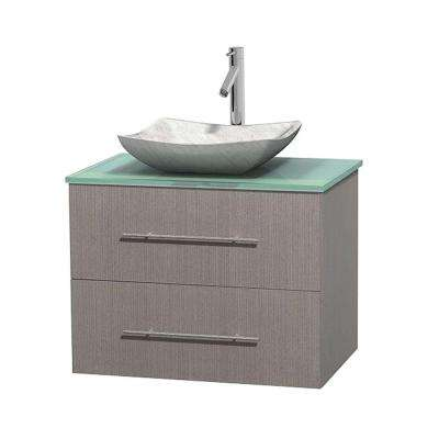 Centra 30 in. Vanity in Gray Oak with Glass Vanity Top in Green and Carrara Sink