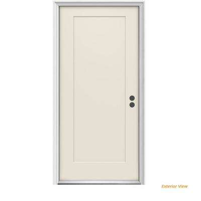 36 in. x 80 in. 1-Panel Craftsman Primed Left-Hand Inswing Steel Craftsman Prehung Front Door