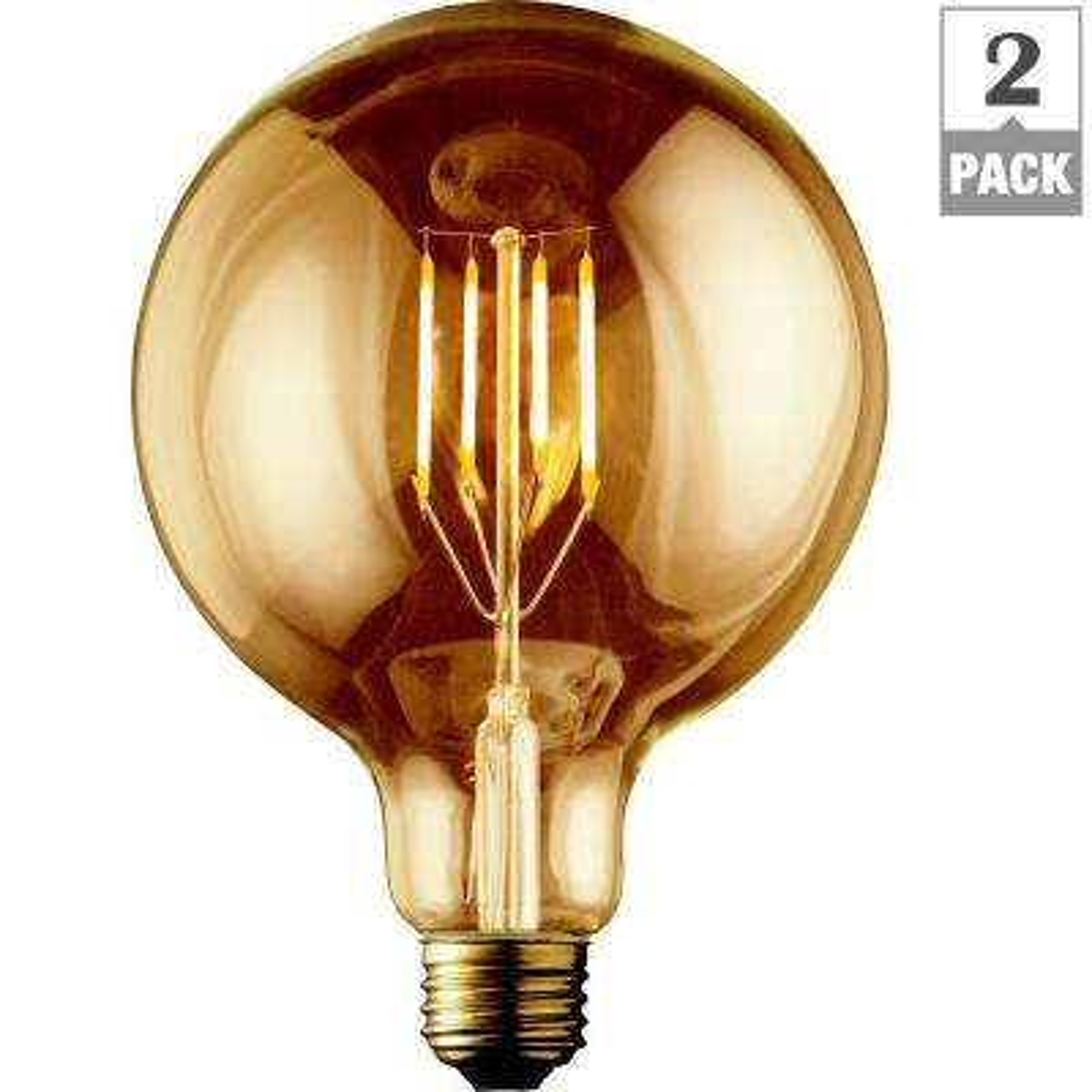 60W Equivalent Warm White G40 Amber Lens Vintage Globe Dimmable LED Light Bulb (2-Pack)