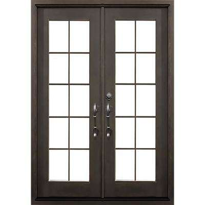62 in. x 81.5 in. Key Largo Dark Bronze Right-Hand Inswing Painted Iron Prehung Front Door w/ Clear Glass & Hardware