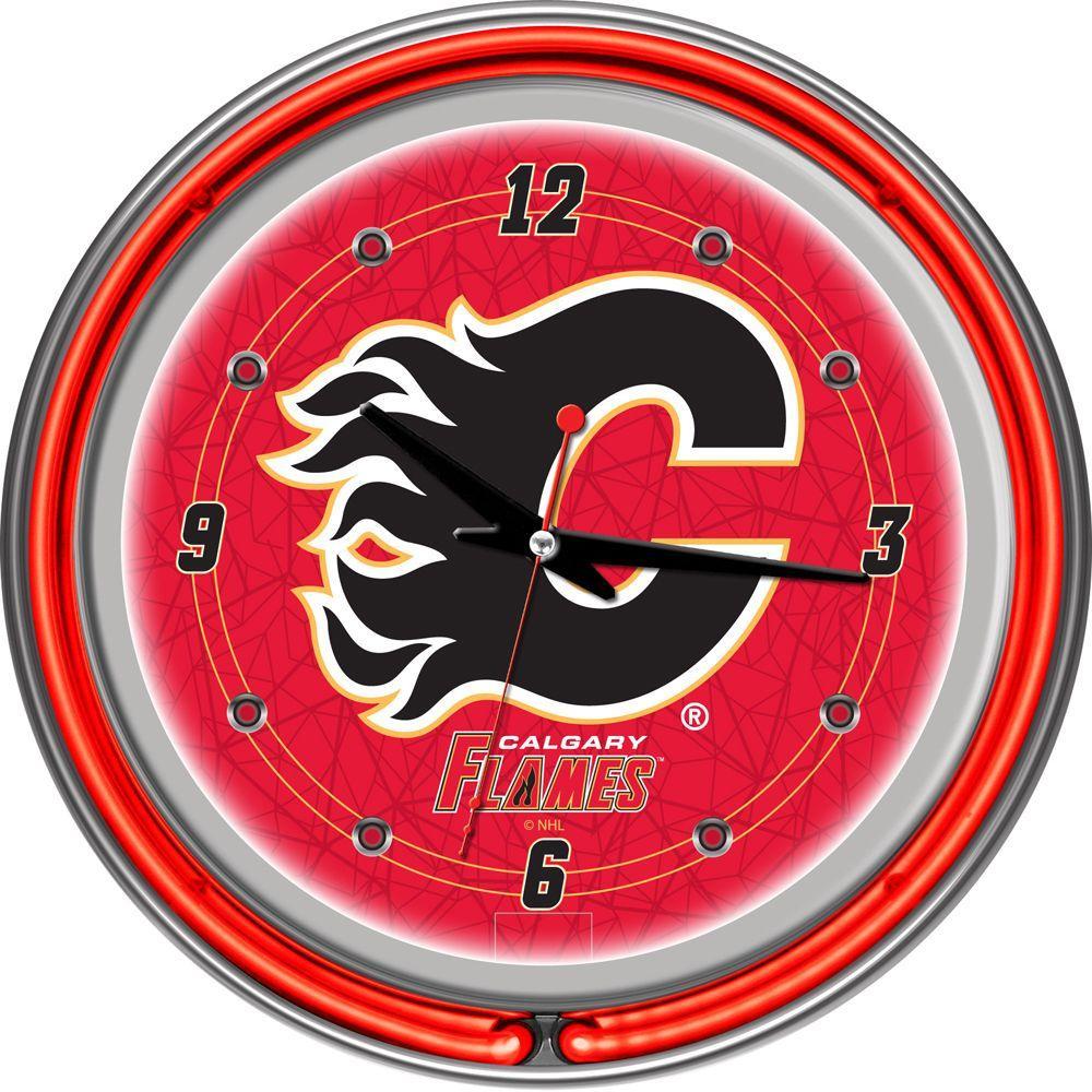 Trademark 14 in. Calgary Flames NHL Neon Clock