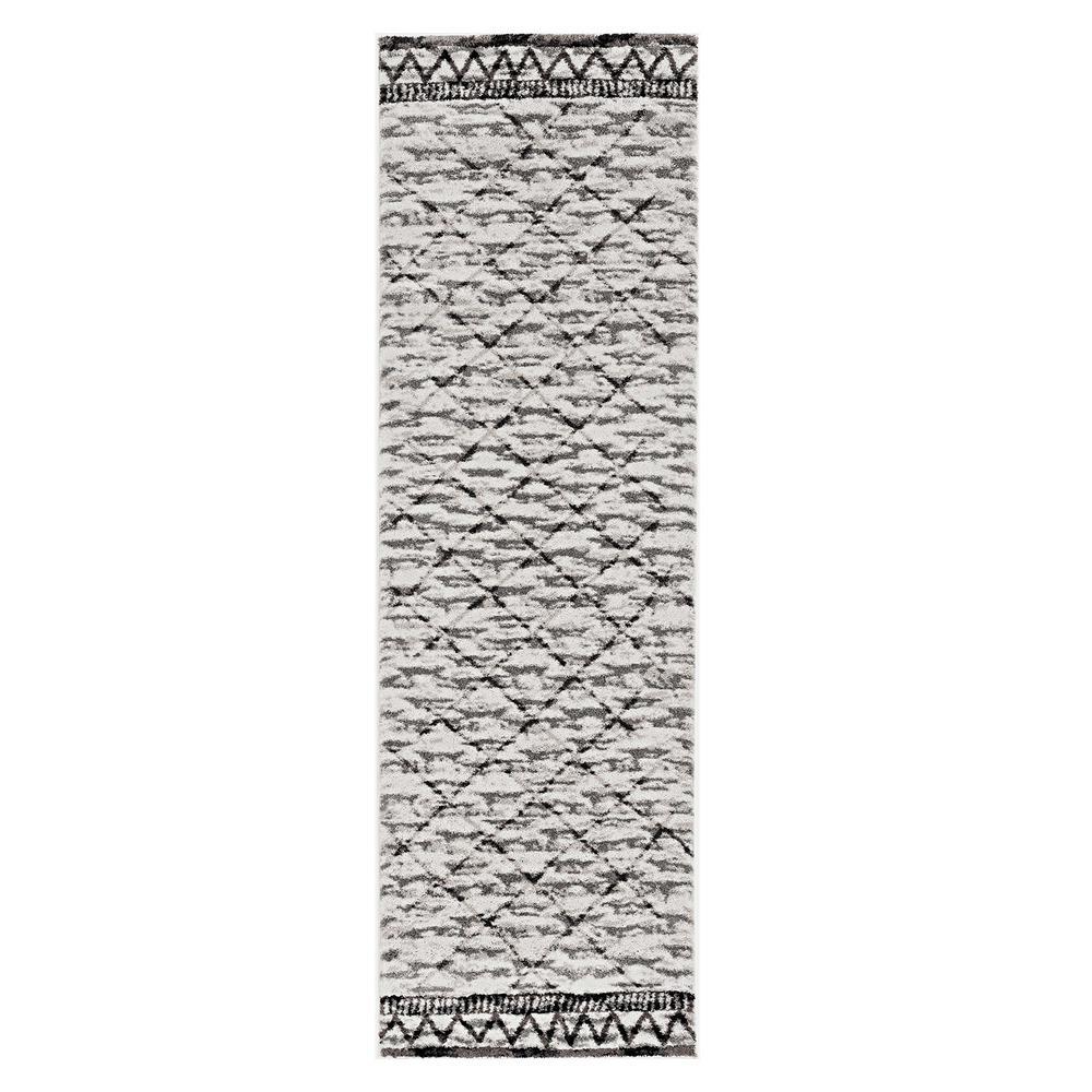 HomeRoots Bernadette Ivory/Mocha 3 ft. x 4 ft. Geometric Polyester Runner Rug