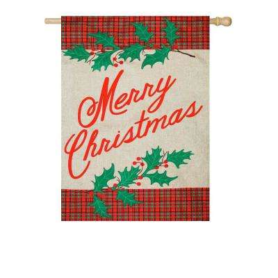 28 in. x 44 in. Merry Christmas Plaid House Burlap Flag