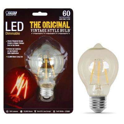 60W Equivalent Soft White AT19 Dimmable LED Antique Edison Amber Glass Filament Vintage Style Light Bulb (12-Pack)