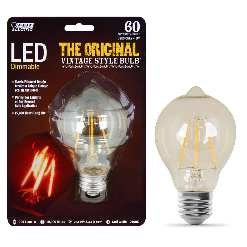 Feit Electric 40w Equivalent Soft White A19 Clear Filament: Feit Electric 60-Watt Equivalent Soft White AT19 Dimmable