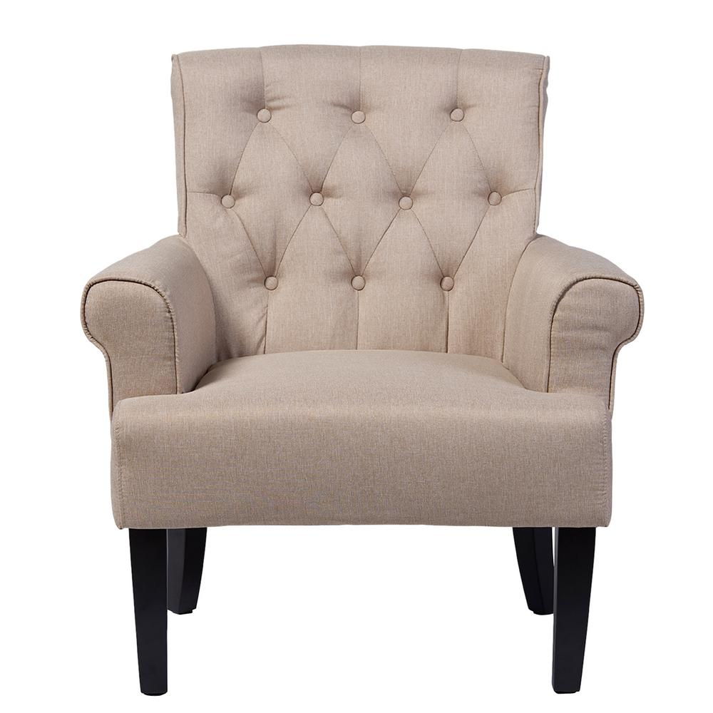 Barret Contemporary Beige Fabric Upholstered Accent Chair
