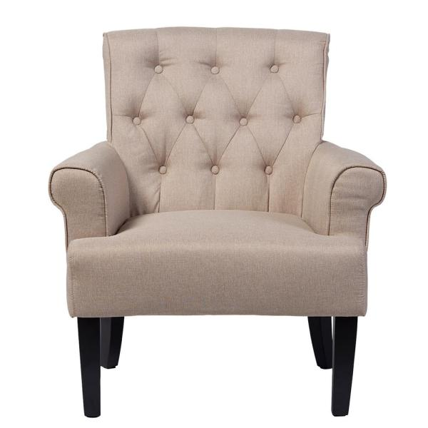 Baxton Studio Barret Contemporary Beige Fabric Upholstered Accent Chair