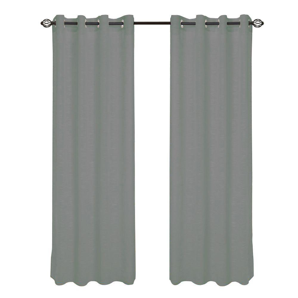 Dark Grey Mia Jacquard Grommet Curtain Panel, 108 in. Length
