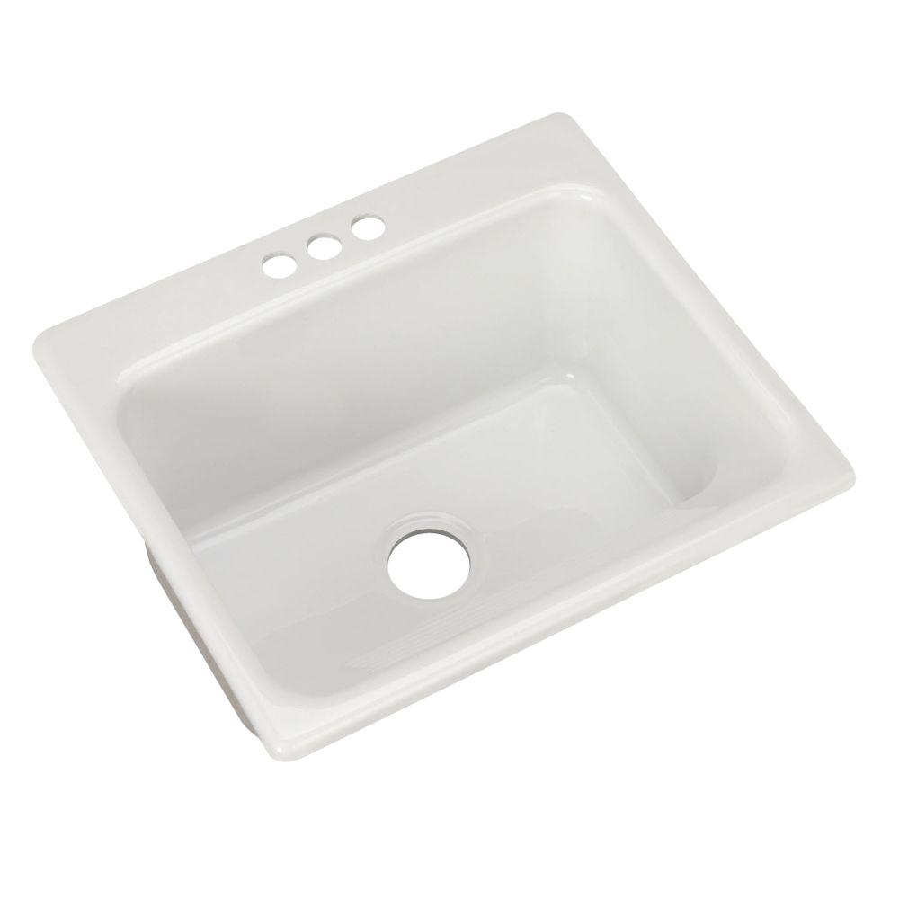 Thermocast Kensington Drop-In Acrylic 25 in. 3-Hole Single Bowl Utility Sink in White
