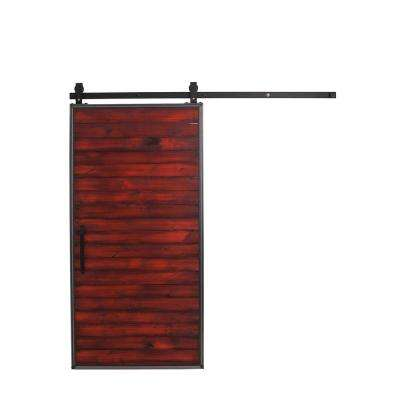 42 in. x 84 in. Mountain Modern Barn Red Wood Barn Door with Mountain Modern Sliding Door Hardware Kit