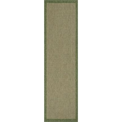 Medusa Odin. Green Solid and Striped Border 2 ft. 7 in. x 9 ft. 10 in. Indoor/Outdoor Runner Rug