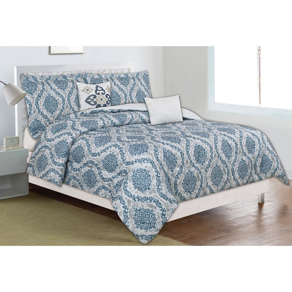 Home Dynamix Classic Trends Blue Gray 5 Piece Full Queen Comforter