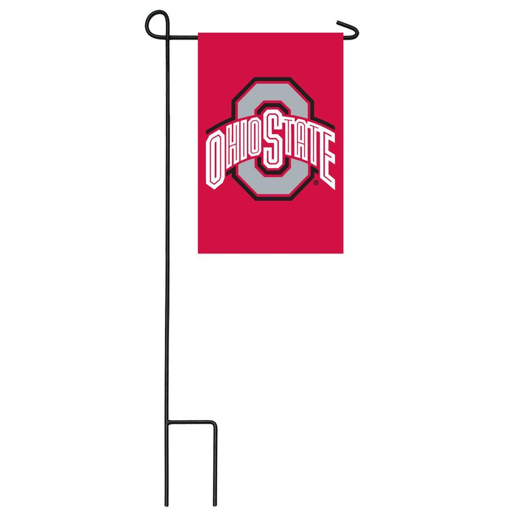 Team Sports America NCAA 12-1/2 in. x 18 in. Ohio State 2-Sided Garden Flag with 3 ft. Metal Flag Stand