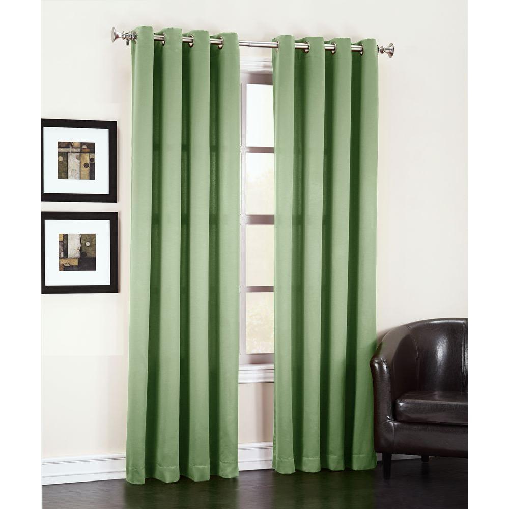 Sun Zero Semi Opaque Sage Green Gregory Room Darkening Grommet Top Curtain  Panel, 54