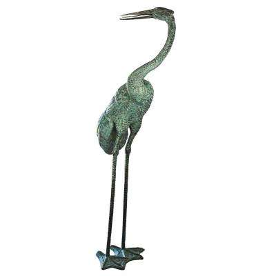 93 in. H Colossal Curved Neck Crane Bronze Garden Statue