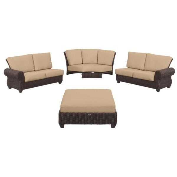 Mill Valley 4-Piece Brown Wicker Outdoor Patio Sectional Sofa Set with Sunbrella Beige Tan Cushions