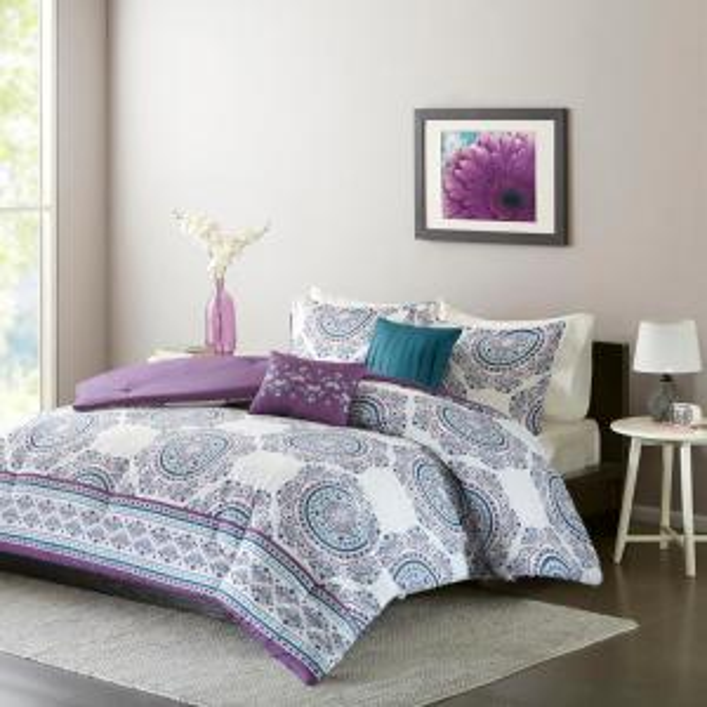 Mikay 5-Piece Purple Full/Queen Comforter Set