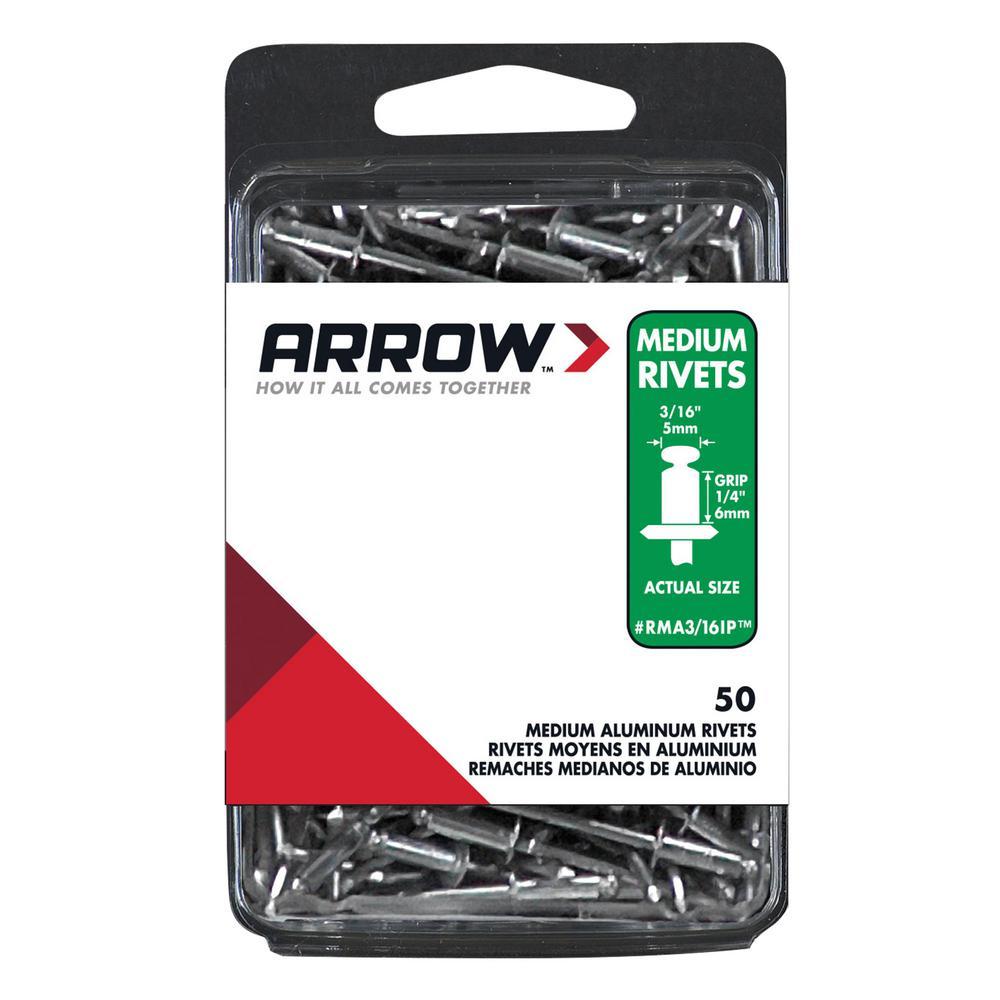 Arrow Fastener 3/16 in. Medium Aluminum Rivets (50-Pack)