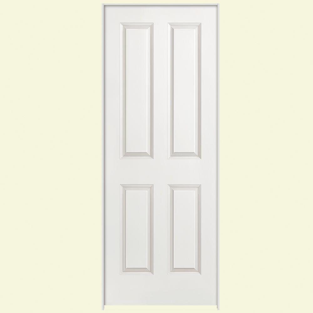 Masonite 32 in. x 80 in. 4-Panel Right-Handed Hollow-Core Smooth Primed Composite Single Prehung Interior Door