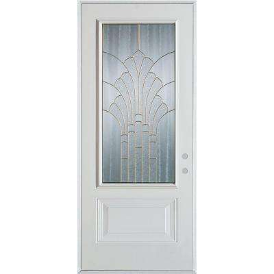 36 in. x 80 in. Art Deco 3/4 Lite 1-Panel Painted White Left-Hand Inswing Steel Prehung Front Door