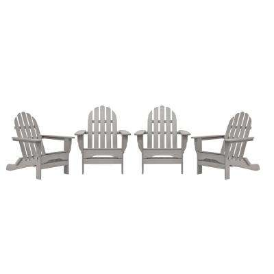 Icon Light Gray 4-Piece Plastic Adirondack Chair Patio Seating Set