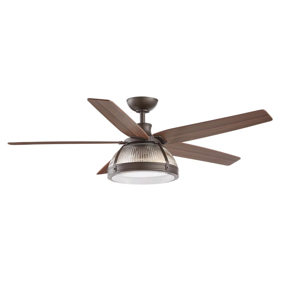 Home Decorators Collection Belford 52 In Led Outdoor Oil Rubbed Bronze Ceiling Fan With Light Kit And Remote Control Sw1732 Damp Orb The Home Depot
