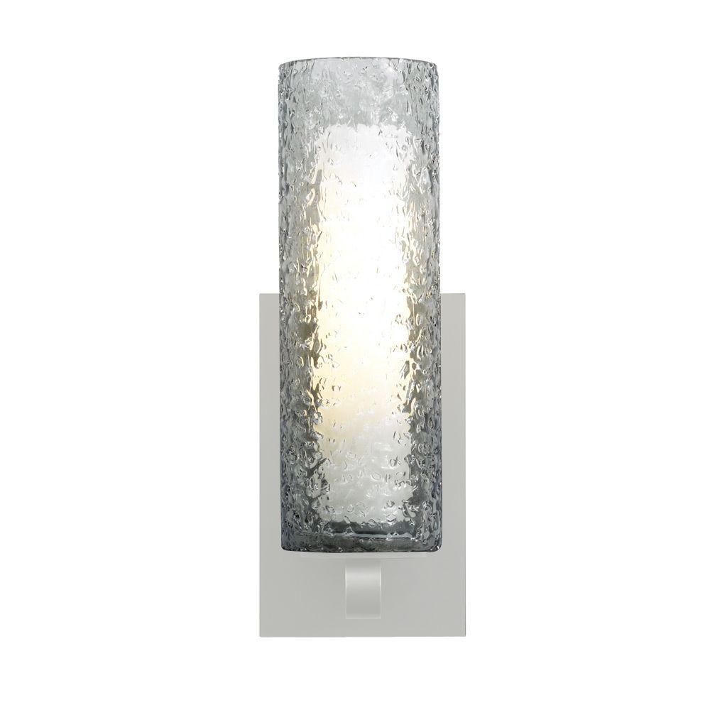 Mini-Rock Candy Cylinder 1-Light Satin Nickel Halogen Wall Light with Smoke Shade