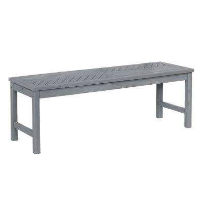 Grey Wash Acacia Wood Modern Outdoor Dining Bench