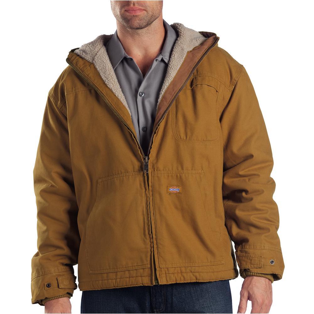 Men Large Duck Sherpa Lined Hooded Rinsed Brown Duck Jacket