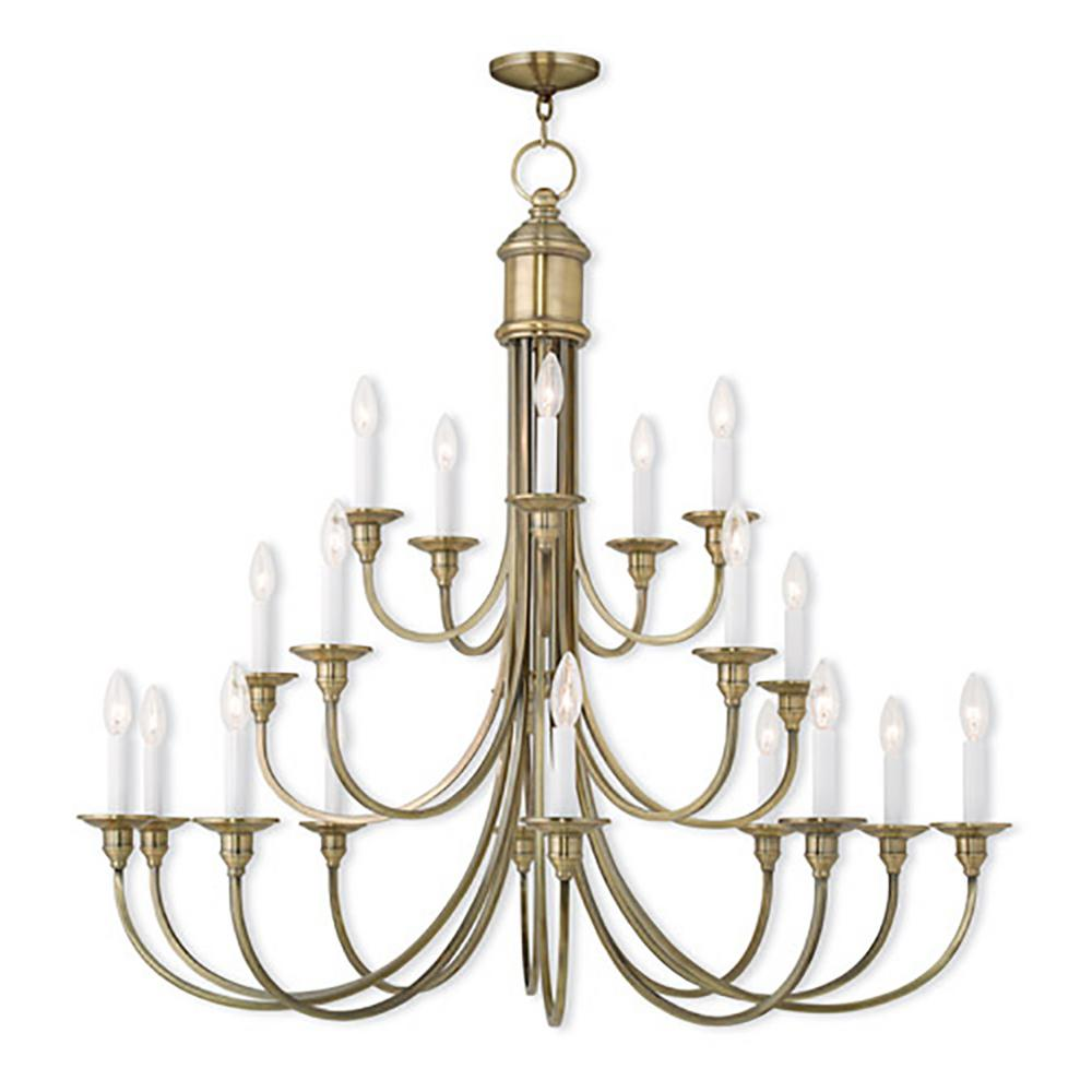 Livex Lighting Cranford 20 Light Antique Brass Chandelier