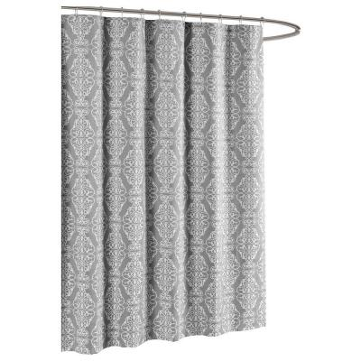 Adisson Printed Cotton Blend 72 in. W x 72 in. L Soft Fabric Shower Curtain Grey