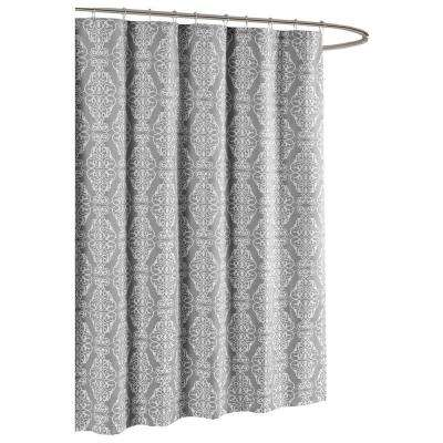 Grey And Turquoise Shower Curtain. Adisson Printed Cotton Blend 72 in  W x L Soft Fabric Shower Curtains Accessories The Home Depot