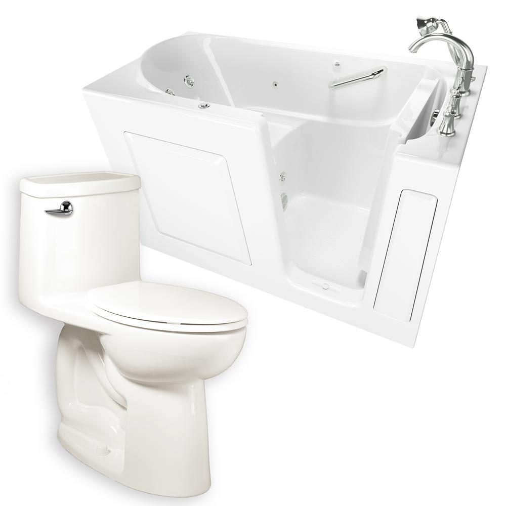 Whirlpool Right Hand 30 In. X 60 In. Walk In Bath, Roman Tub Filler, And  Cadet 3 FloWise Right Height Toilet In White