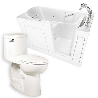 Whirlpool Right-Hand 30 in. x 60 in. Walk-In Bath, Roman Tub Filler, and Cadet 3 FloWise Right Height Toilet in White