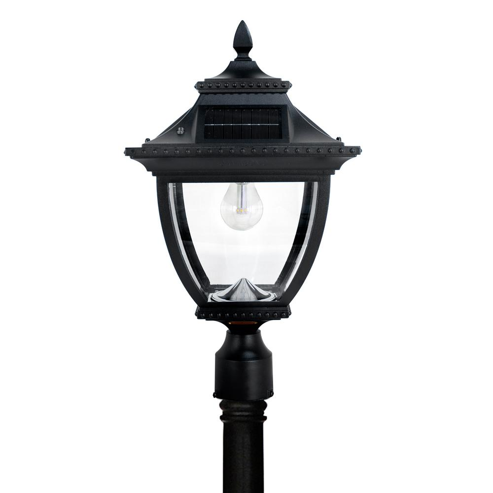 Pagoda Bulb Solar Large 1-Light Black Cast Aluminum LED Outdoor Post Lantern with GS LED Bulb and High/Low Switch